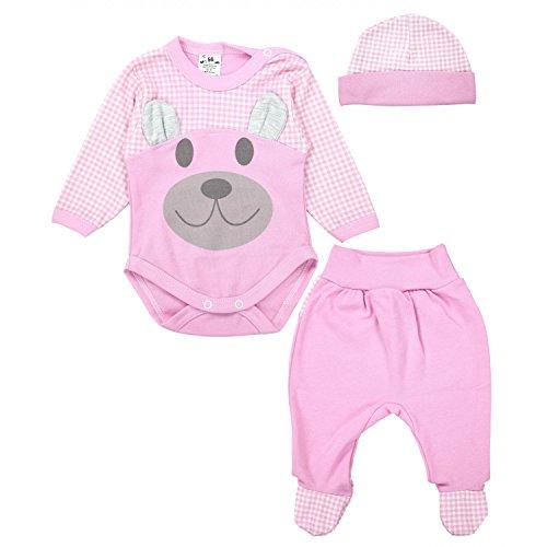 TupTam Baby Bekleidungsset Body Strampelhose Mütze Teddybär, Farbe: Rosa, Größe: 74