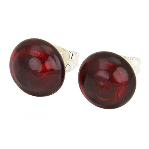 GlassOfVenice Donne Orecchini di Stud di Bottone di Murano - Rosso Rubino Rosso