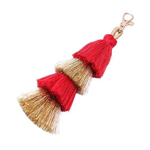 jgashf Fransen anhänger Modischer Anhänger Böhmen Reine Handmade Haarball Zubehör Creative Damen Bag Quaste Schlüsselanhänger Tasche Zubehör(rot) -