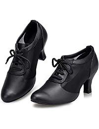 HCCY Parte Inferior Suave de Mujer Adulta de Cuero Negro con Zapatos de Baile  Latino. bf197d7fbc1c
