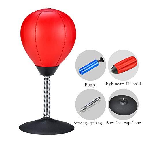 GYPPG Punchingball Tisch Mit Pumpe, Boxbirne Schreibtisch, Büro Punching Ball, Anti Frust, Für Erwachsene Und Kinder, Ideal Für Das Heimbüro, Rot