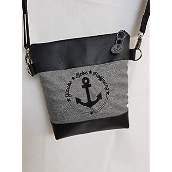 Handtasche Anker in grau Umhängetasche Schultertasche Tasche mit Anhänger handmade Kunstleder