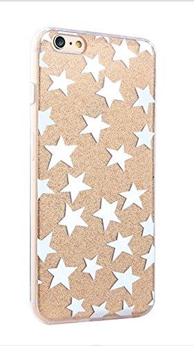 Phone Kandy® Transparente Seiten TPU Funkeln Bling Silikon-Gel-Kasten-Abdeckung Hülle (iPhone 6 6s, Goldsterne) (Iphone 6 Telefon-kasten-designer)