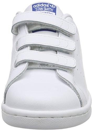 adidas Stan Smith, Baskets Basses Mixte Enfant Blanc (Ftwr White/Ftwr White/Eqt Blue S16)