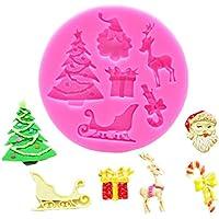 Molde bricolaje árbol de navidad santa molde de silicona pastel de chocolate fondant molde para hornear
