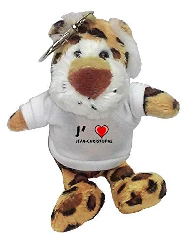 Léopard peluche porte-clé avec J'aime Jean-Christophe (Noms/Prénoms)