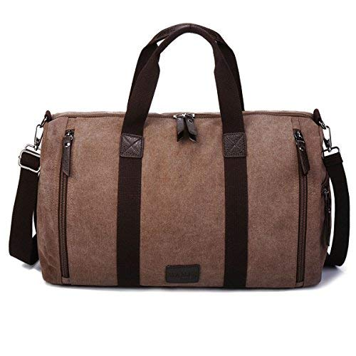 Gracosy Canvas Duffle Bags, Unisex Overnight Weekend Bags Holdall Large Travel Bag Lightweight Handbags with Pu Leather for Mens Womens Coffee
