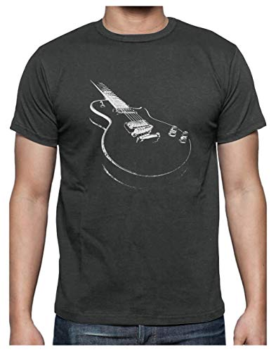 Green Turtle T-Shirts Camiseta para Hombre - con Guitarra Eléctrica Estampada Large Gris Antracita