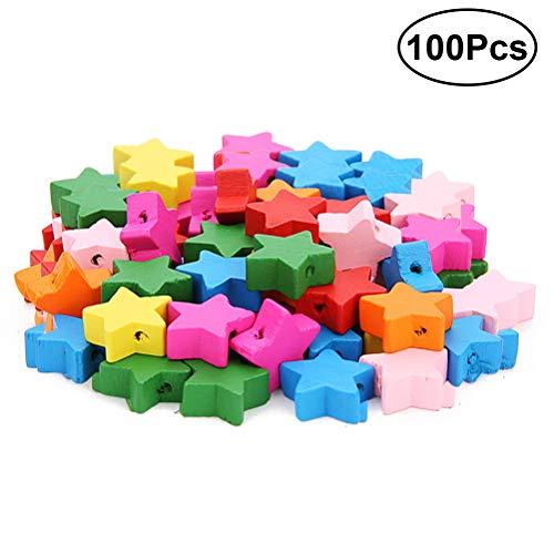 Healifty 100 Stück Kinder Lernspielzeug, Holzperlen, mehrfarbig, Cartoon-Design, handgefertigt, Schmuck Accessoires (klassische Farben)