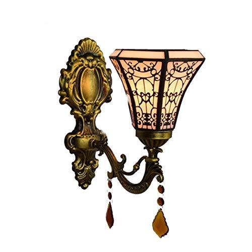 Litaotao Ø15cm Vintage Tiffany Stil Wandlampe Barock Kristall Wandleuchte Lichter Glasmalerei Studie Schlafzimmer Ganglichter, E27, 110-220V,Singlehead -