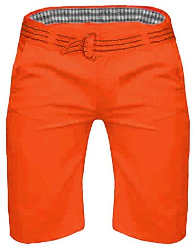 Pantaloncini Chino da uomo Kushiro City Pantaloni Lunghezza Al Ginocchio Straight cotone Casual estate Orange