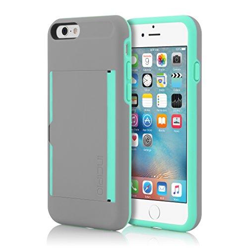 Incipio STOWAWAY Schutzhülle mit Kartenfach, Standfunktion und Schutzfolie und Soft-Touch-Beschichtung für Apple iPhone 6/6S - Schwarz Stowaway - Grau/Türkis