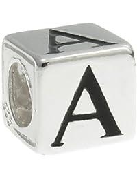 Queenberry Cuentas con forma de cubo con letras, hechas de plata, para pulseras