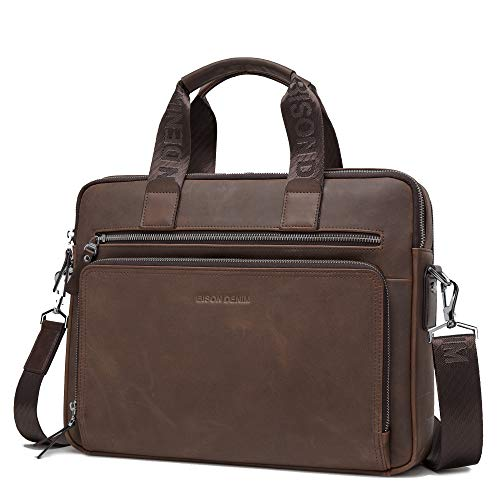 BISON DENIM Herren Klassische Leder Aktenkoffer Laptop Schulter Messenger Bag Business Tote (W2333-Braun) -