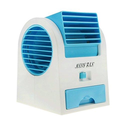 Magic Mini Portable Handheld Bladeless Cool ventilador aire acondicionado enfriador de refrigeración de agua mesa escritorio escritorio eléctrico ventilador batería USB funciona con pilas para hogar oficina estudiantes (azul)