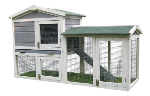 BUNNY BUSINESS The Grove Spearmint Double Decker Rabbit/ Guinea Pig Hutch and Run, and Cover 2