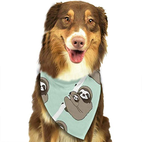 Rghkjlp Sloth Cute Pet Bandana Washable Reversible Triangle Bibs Scarf - Kerchief for Small/Medium/Large Dogs & Cats