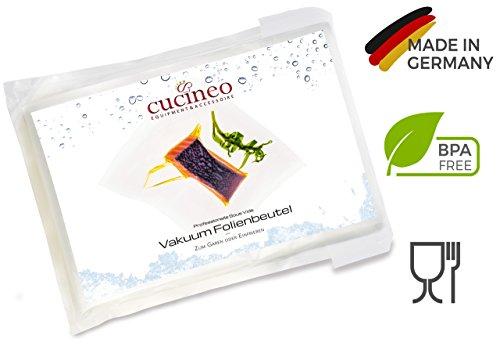 Cucineo Profi Vakuumbeutel (50 Kochbeutel 20x30cm) zum Sous Vide / Wasserbad-Kochen Einfrieren Marinieren und Mikrowelle, für alle Vakuumiergeräte / Folienschweißgeräte, Premium High Tech Vakuumfolien Made in Germany
