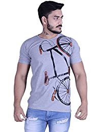 COBIO MAN Blue Cotton 3-D Cycle Printed Casual Half Sleeve T-Shirt
