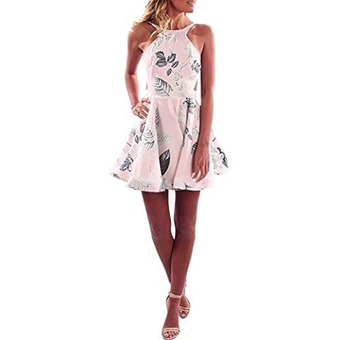DOLDOA Frauen-Sommer-Blumen-Halter-Kleid weg vom Schulter-Minikleid-Strand-Partei-Kleid (♣ Größe: 38 Fehlschlag: 86cm / 33.9
