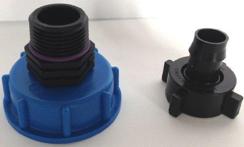 CMTech GmbH Montage Technik cm135287 Casquette Raccord S60 x 6 avec Embout Plastique + écrou-raccord, IBC conteneur de Accessoire pour Réservoir D'eau de Pluie Adaptateur de raccord de bidon