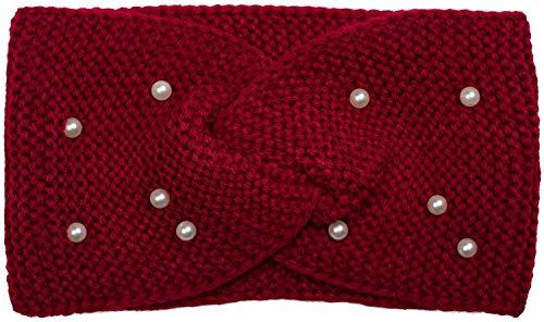 styleBREAKER Damen Feinstrick Stirnband mit Twist Knoten und Perlen, Haarband, Headband 04026033, Farbe:Bordeaux-Rot -