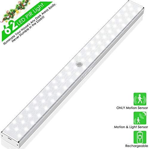 LED Sensor Licht 62 LED Schrankbeleuchtung, LOFTer LED Bewegungsmelder Schrankleuchten, Küchenlampen Kabinett Nachtlicht Unterbauleuchte (Kleine Bewegungs-sensor-led-licht)