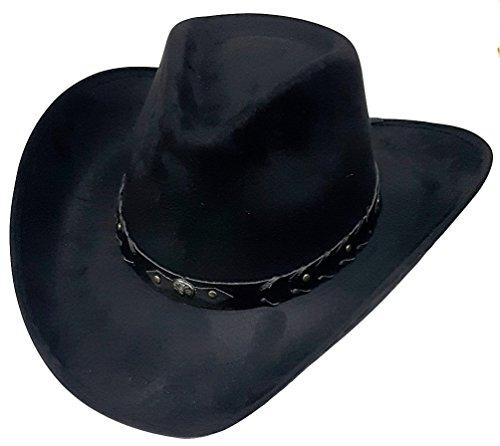Modestone Unisex Felt Feel Wide Brim Cowboy-Hut Black -