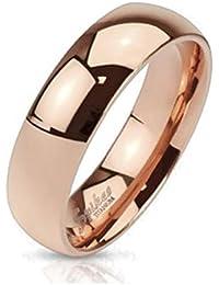 Paula & Fritz® klassischer Titan Damen-ring Verlobungs-ring Freundschaftsring Herrenring Partnerring rosè gold poliert Classic 6 verfügbare Ringgrößen 47 (15) – 69 (22) R-TI-4384-6