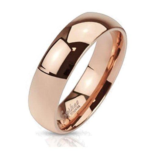 Paula & Fritz® klassischer Titan Damen-Ring Verlobungs-Ring Freundschaftsring Herrenring Partnerring 4mm 6mm 8mm rosè Gold poliert Classic verfügbare Ringgrößen 46(14.6) - 72(23) R-TI-4384-8_90