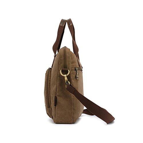 FakeFace Herren Satchel Schultasche Umhängetasche aus Canvas Segeltuch Schultertasche Messenger Bag Cross-Body Tasche für iPad Tablett 32 x 31 x 10 CM (Khaki) Khaki 1