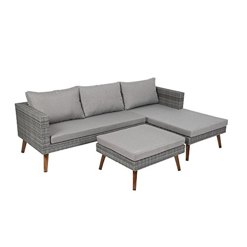 greemotion Lounge Set Gomera 3-tlg, inkl. Kissen, aus Aluminium/Kunststoffgeflecht Verstellbare...