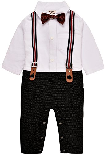ZOEREA Baby Jungen Baumwolle Insgesamt Lange Hülsen Kleider Gentleman Anzug mit Gallus