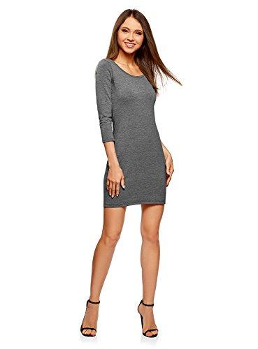 oodji Ultra Damen Enges Kleid mit Tropfen-Ausschnitt am Rücken, Grau, DE 34 b35919d6a4