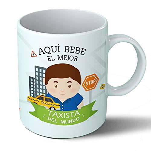 Planetacase Taza Desayuno Aquí Bebe el Mejor Taxista del Mundo Regalo Original Ceramica 330 ML