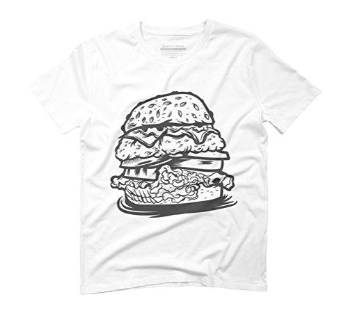 Burger Line Art Men's Graphic T-Shirt - Design By Humans White