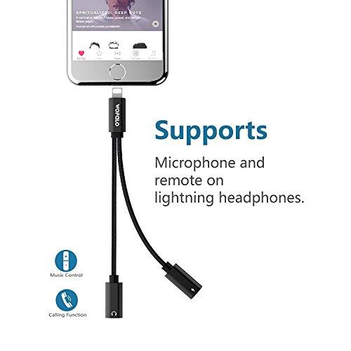 Preisvergleich Produktbild iPhone 8/8plus / iphone x /iphone 7/7 Plus adapter kopfhörer und laden, wofalo dual-Lightning-Adapter Unterstützung Music Control ,aufladen und anrufen,(Kompatibel mit 11 System) (Schwarz)