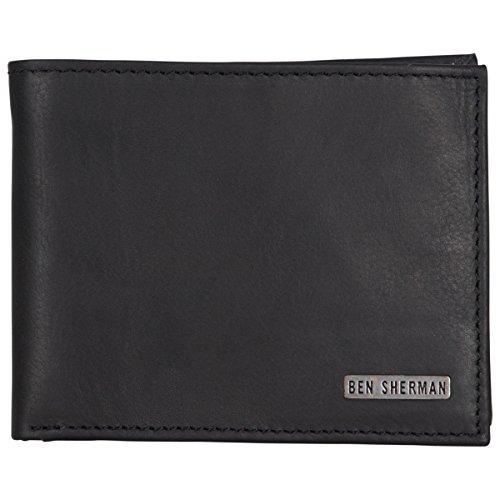 Ben Sherman Men's Leather Five Pocket Bi-Fold Passcase Wallet with Id Window (Rfid), Black (Geldbörse Passcase Id Herren)