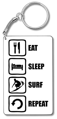 Eat Sleep Surf Repeat Black Surfboard Graphic Schlüsselbund Schlüsselbund
