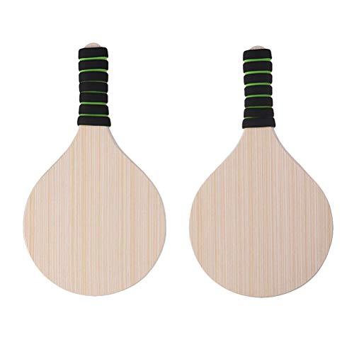 Toyvian 1 para Beach Paddle Set Holzschläger Beachball Badminton Schläger Cricket Ball für Büro Outdoor Sports (zufällige Griff Farbe) (Beach-cricket)
