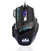 Mouse Gaming [6800&3200 DPI] Ergonomico Mouse per giochi QueenDer Professionale con cavo Due DPI regolabili a 7 pulsanti Mouse per PC Notebook computer per Windows 2000/7/8/10/XP/Vista/Me