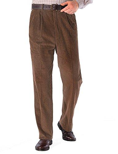 Pantalon En Coton Velours Côtelé Hommes Avec Ceinture Supplémentaire Caché Marron