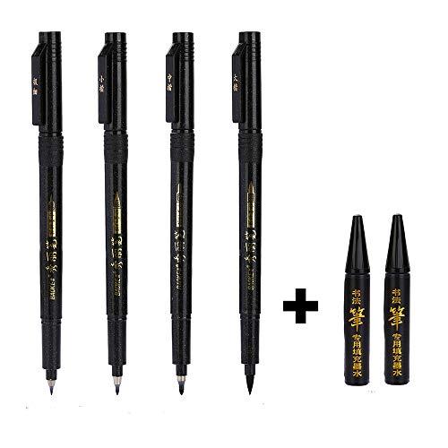 Siumir 4 Taglie Refillable Calligrafia Pen Hand Lettering Pennello & 2 pcs Inchiostro Nero per Firma, Illustrazione, Design