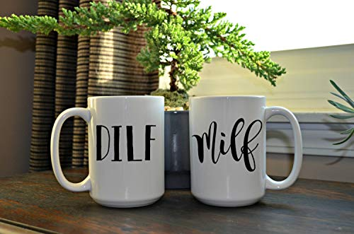 DILF und MILF weißes Kaffeebecherset Kaffeebecher 15oz Novelty Coffee Mugs Funny Sayings