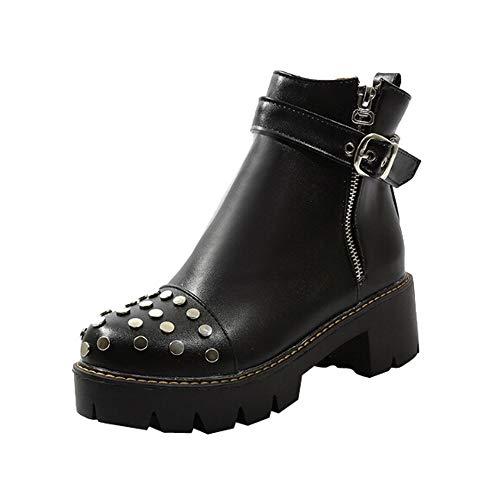 Zapatos de Invierno, Dragon868 Cool Estilo Cabeza de tacón bajo de Punk Biker Zapatillas de Arranque