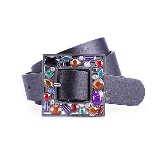 Cintura donna di marca con cinturino in vita con fibbia in metallo con fibbia a punta colorata per uomo, nero