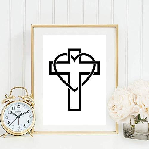 Din A4 Kunstdruck Kreuz mit Herz Christus Liebe schwarz Tusche Geschenk Druck Poster Deko Bild