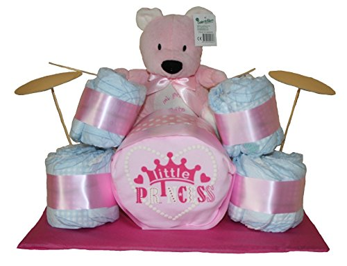 Batería de pañales en color rosa. Regalo original bebé niña - tarta de pañales - tarta pañales...