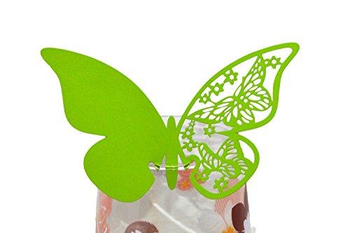 50pcs Schmetterling Shimmer Laser-Cut Design Wein Glas Tischkarten für Hochzeit Party Dekoration 10.4 x 7 x 1.8 cm grasgrün - Laser-design