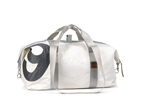 360° Grad Kutter XL Sporttasche,weiss, Zahl grau,Gurt grau (Segeltuchtasche)